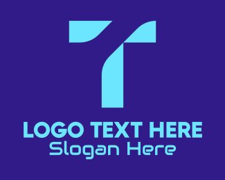 Computer Programming - Blue Tech Letter T logo design