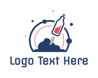 Booze - Soda Bottle Rocket logo design