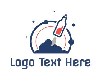 Soda - Soda Bottle Rocket logo design