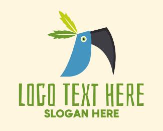 Blue Bird - Tropical Blue Toucan Bird logo design