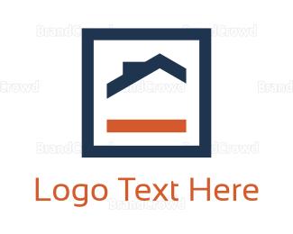 Agent - Orange & Blue House logo design