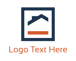 Cottage - Orange & Blue House logo design