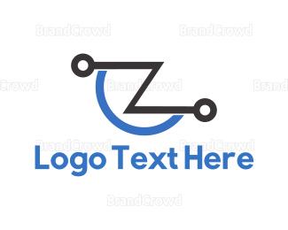 Lettermark Z - Tech Letter Z logo design