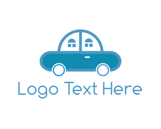 Blue Car - Car Home logo design