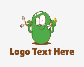 Bean - Green Bean Cartoon logo design