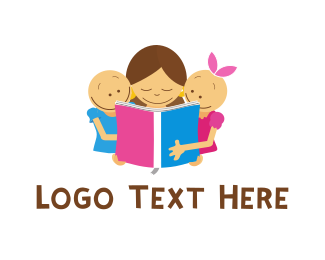 Children - Children Book Reading logo design