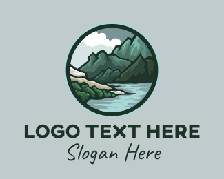 Rock Formation - Outdoor River Mountain logo design