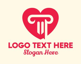 Doric - Pink Pillar Heart logo design