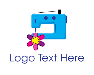 Embroidering - Cute Fashion Sewing Machine logo design