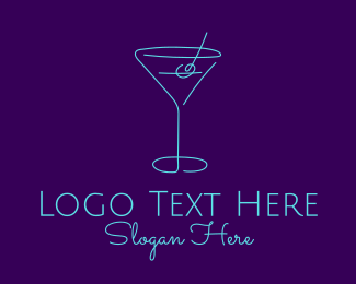 Mixed Drink - Martini Cocktail Glass logo design