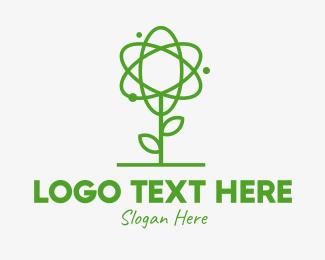 Atom - Atom Plant Outline logo design