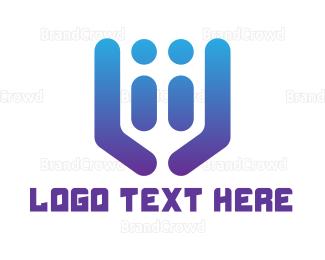 Couple - Blue Abstract Couple logo design