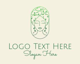 Maiden - Green Vine Beauty Woman logo design