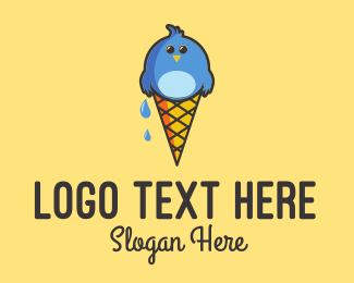 Cone - Ice Cream Bird  logo design