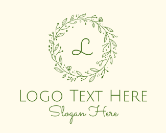 Tea House - Green Floral Wreath Lettermark logo design