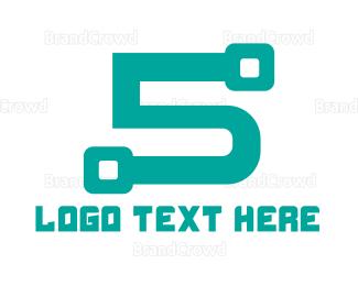 Circuit Board - Modern Tech Number 5 logo design