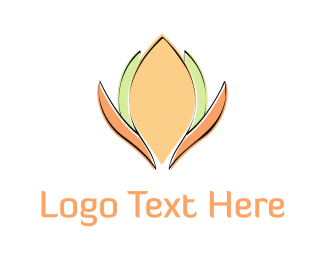 Massage - Orange & Green Flower logo design