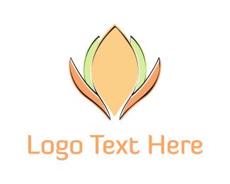 Delicate - Orange & Green Flower logo design
