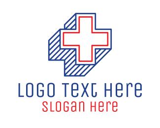 Lines - 3D Lines Medical Cross logo design