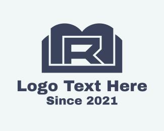 R - Blue Book Letter R logo design