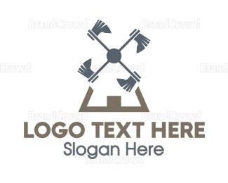 Blade - Axe Windmill logo design