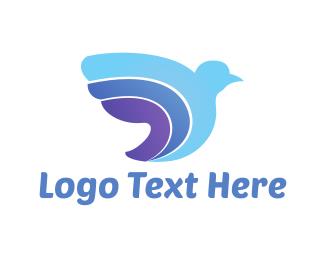 Abstract Blue Bird Logo