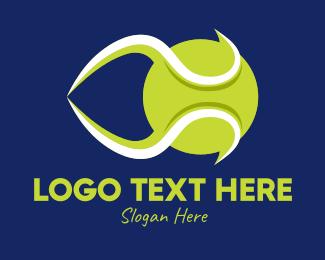 Tennis Equipment - Green Tennis Ball  logo design