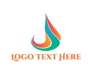 Initial - Flame Letter J logo design