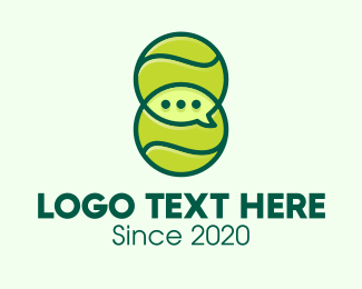 Tennis Coach - Green Tennis Ball Chat logo design
