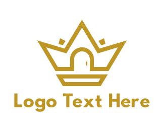 Queen - Gold House Crown logo design
