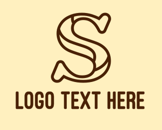 Initial - Brown S Outline logo design