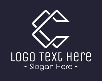 Geometric Letter C Line Logo