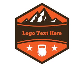 Healthy - Red Sport Badge Mountain logo design