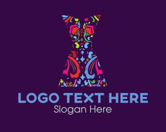 Gown - Floral Dress logo design