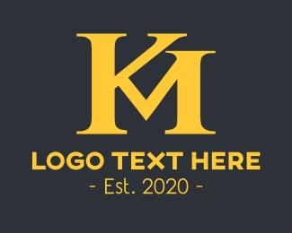 Monogram - Golden KM Monogram logo design