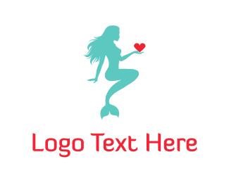 Escort - Mermaid & Heart logo design