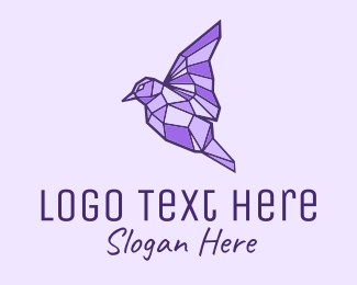 Migration - Purple Geometric Bird logo design