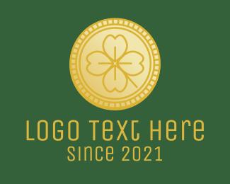 Coin - Clover Leaf Coin logo design