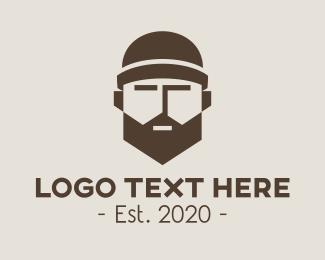 Grandparent - Hipster Guy Barbershop logo design