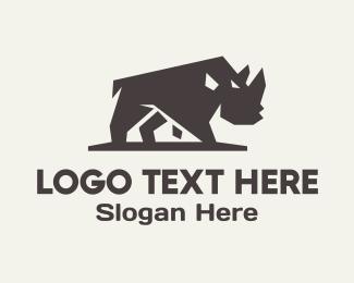 Forest Animal - Rhino Rhinoceros logo design