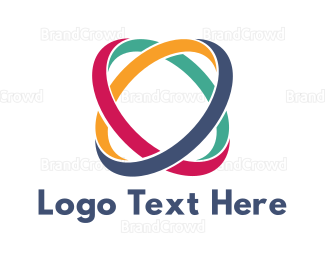 Atom - Colorful Abstract Rings logo design