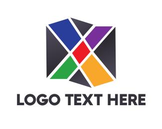 Pentagon - Mosaic X Box logo design