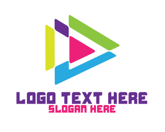 Youtube - Colorful Polygon Play logo design