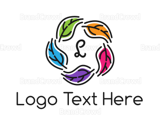 Therapeutic - Colorful Leaf Lettermark logo design