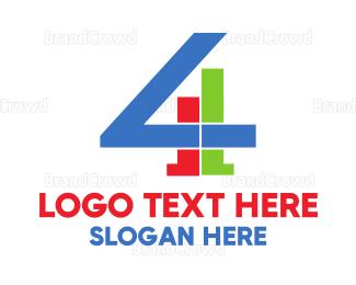 Fbi - Geometric Number 4  logo design