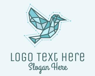 System - Blue Geometric Bird logo design