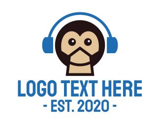 Dj - Monkey DJ Music Headphones logo design