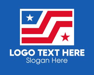 Election - Two Star Stripes Flag  logo design