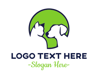 Cat And Dog - Pet Green Circle logo design