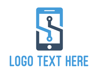 Mobile - Blue Mobile  logo design